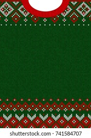 ugly sweater merry christmas and happy new year greeting card template illustration handmade knitted background