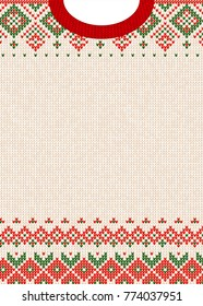 Ugly sweater Merry Christmas and Happy New Year greeting card template. illustration Handmade knitted background pattern with scandinavian ornaments. White, red, green colors. Flat style