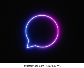 UI icon with neon light isolated in black background. 3d rendering - illustration.