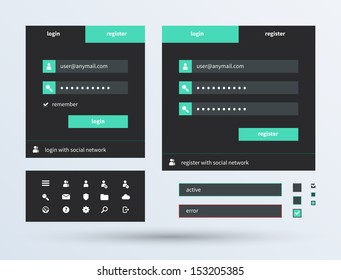 UI set of beautiful components featuring the flat design trend. See also vector version.