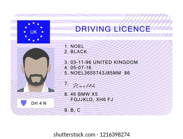 Uk driver license id card. Cartoon of uk driver license id card for web design isolated on white background