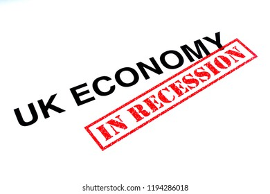 UK Economy heading stamped with a red IN RECESSION rubber stamp.
