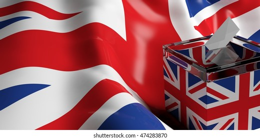 UK elections. Ballot box on United Kingdom flag background. 3d illustration
