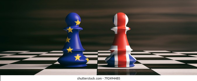 UK and EU, Brexit, no deal. Great Britain and European Union flags on chess pawns soldiers on a chessboard. 3d illustration