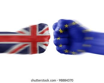 UK & EU - disagreement. brexit. brexit yes. brexit no. brexit concept. brexit plebiscite.