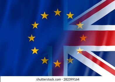 UK, EU flag concept. United Kingdom & European Union flags merged.