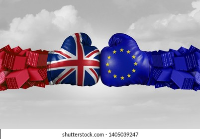 UK and EU trade challenge and conflict with two opposing trading partners as an economic import and exports brexit dispute with United Kingdom and the European union with 3D illustration elements