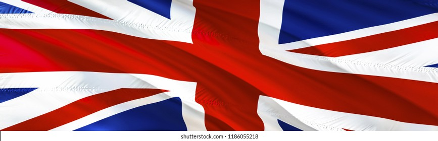 UK flag. 3D rendering Waving flag design. Red, white and blue flag. The national symbol of United Kingdom.  3D Waving sign design. Waving sign background wallpaper. 3D pattern background download HD w