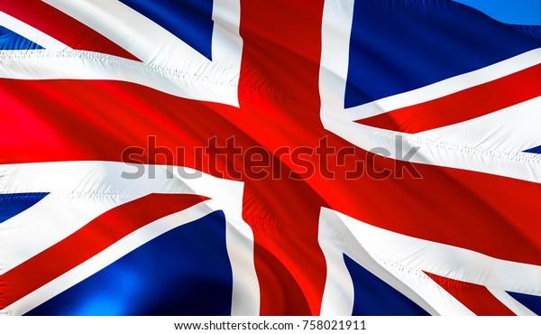 Uk Flag 3d Waving British Flag Stock Illustration 758021911