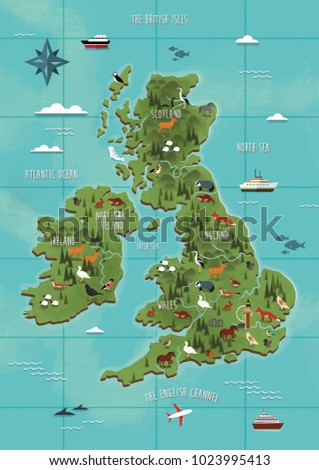 Map Of Uk Ireland.Uk Ireland Map Illustration Stock Illustration 1023995413 Shutterstock