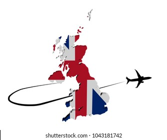 UK map flag with plane silhouette and swoosh 3d illustration
