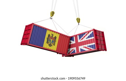 UK and moldova business trade deal. Clashing cargo containers. 3D Render