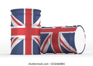 UK oil barrels brent isolated on white background. 3d render