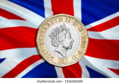 UK Pound economy for business and financial concept ideas illustration, background. Close up of British money, new pound coins background laid flat. Concept with money UK Pound,3d rendering Crisis