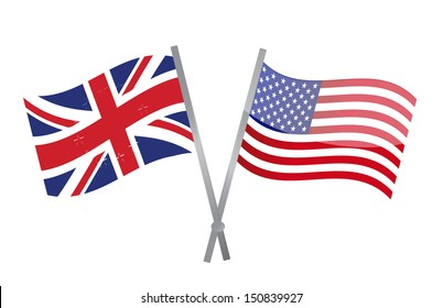uk and usa flags join together. illustration design over white