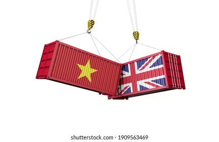 UK and vietnam business trade deal. Clashing cargo containers. 3D Render