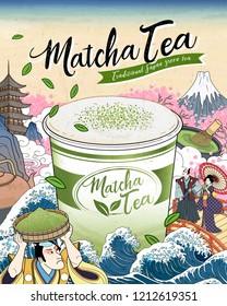 Ukiyo-e Matcha tea ads with giant takeaway cup floating upon ocean tides, Japanese vintage art