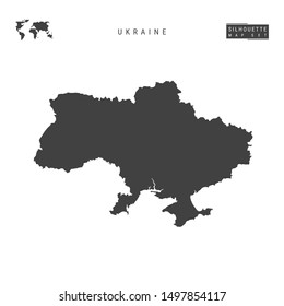 Ukraine Blank Map Isolated on White Background. High-Detailed Black Silhouette Map of Ukraine.