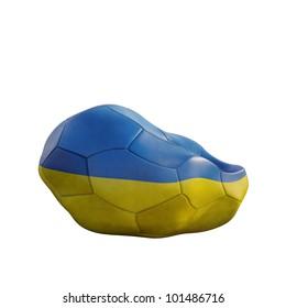 ukraine deflated soccer ball isolated on white
