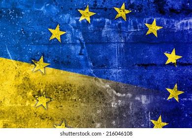 Ukraine and EU Flag painted on grunge wall