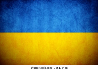 Ukraine flag on the grunge concrete wall