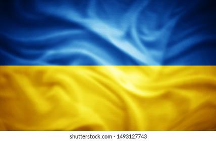 Ukraine-Flagge der Seide - 3D-Illustration