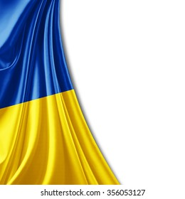 Ukraine flag of silk with copyspace for your text or images and white background