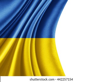 Ukraine flag  of silk with copyspace for your text or images and white background-3D illustration