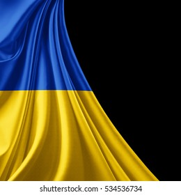 Ukraine  flag of silk with copyspace for your text or images and black background-3D illustration