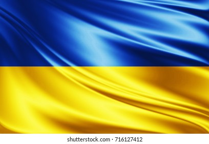 Ukraine flag of silk-3D illustration