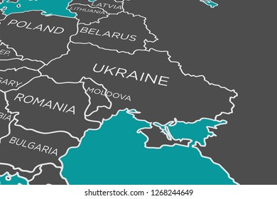Ukraine in Focus, Political Map, Central and Eastern Europe, Crimea, Kerch, Russia Conflict, Graphic, Concept Image, 3D Illustration