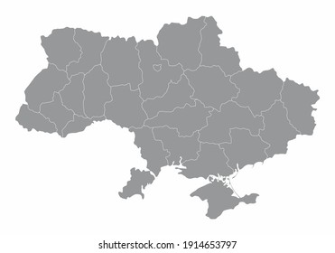The Ukraine isolated map divided in regions
