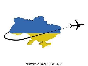 Ukraine map flag with plane silhouette and swoosh 3d illustration