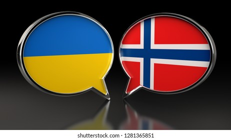 Ukraine and Norway flags with Speech Bubbles. 3D illustration