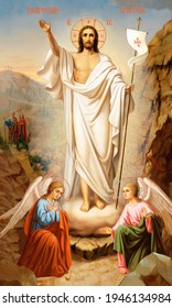 UKRAINE, ODESSA REGION – DECEMBER, 11, 2012: Orthodox icon of the Resurrection of Jesus Christ. Easter.