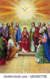 UKRAINE, ODESSA REGION, VILLAGE PETRODOLINSKOE – JULY, 02, 2012: Orthodox icon Descent of the Holy Spirit. Pentecost.