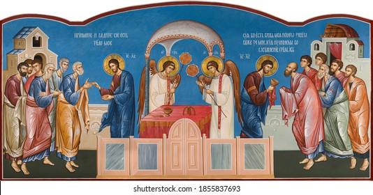 UKRAINE, ODESSA – SEPTEMBER, 14, 2015: Orthodox icon of the Eucharist. The Last Supper.