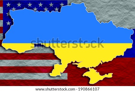 Ukraine Outline Map Russia Usa Flags Stock Illustration 190866107