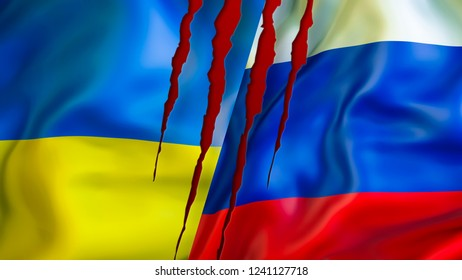 Ukraine and Russia flags with scar concept. Waving flag design 3D Rendering. Ukraine Russia flag pictures, wallpaper image. Ukraine Russia relations, sanctions and Crimea conflict war concept USA