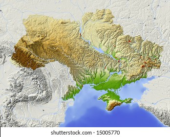 Ukraine. Shaded relief map with major urban areas. Surrounding territory greyed out. Colored according to elevation. Includes clip path for the state area. Data source: NASA