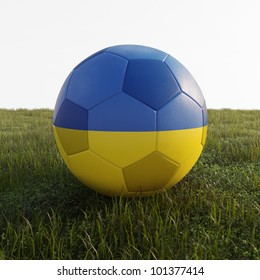 ukraine soccer ball isolated on grass