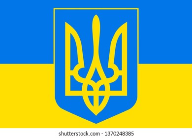 ukrainian coat of arms against of ukrainian flag, abstract illustration