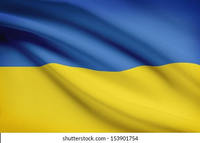 Ukrainian flag blowing in the wind. Part of a series.