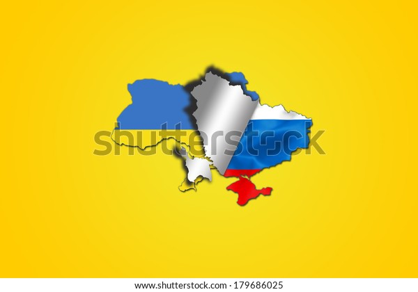 Ukrainian flag folding to reveal the russian flag inside the ukraine map : symbol of the relationship between the two countries.