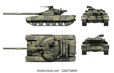 """Ukrainian tnak T-64BM """"Bulat"""". Color scheme. 3D-render"""