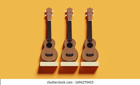 ukuleles on white shelf isolated over yellow orange wall background surface. 3d render illustration minimal design of ukulele