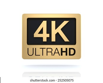 Ultra HD 4K 3d icon isolated on white background
