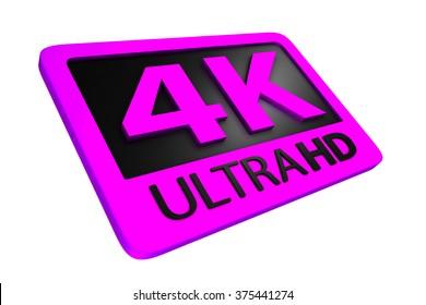 Ultra HD 4K icon. 3D render.