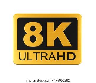 Ultra HD 8K Icon. 3D rendering