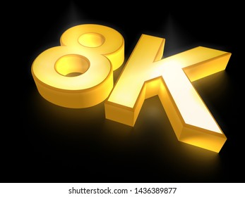 Ultra HD (high definition) resolution technology, 8K UHD concept 3D render illustration, golden 8K